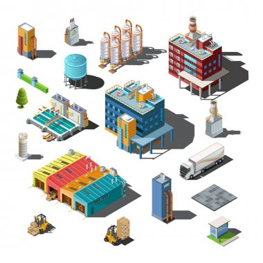 industrial site, buildings, equipment icons