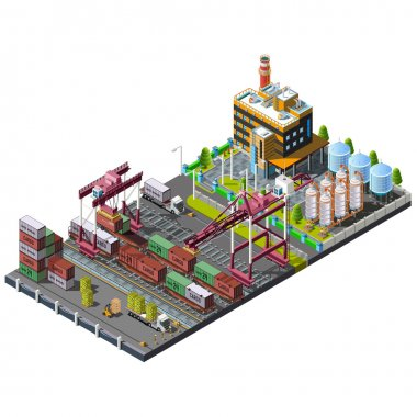 set with industrial construction