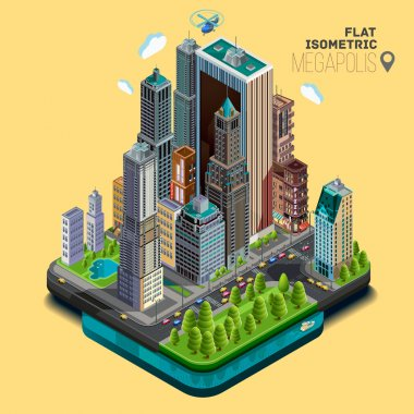 Urban landscape illustration NYC.