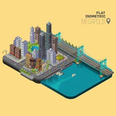 Isometric city,megapolis concept