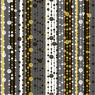 Seamless patterns with white black gold lines and points