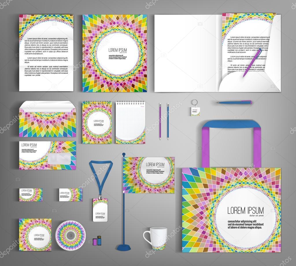 Corporate Identity set with mosaic pattern.