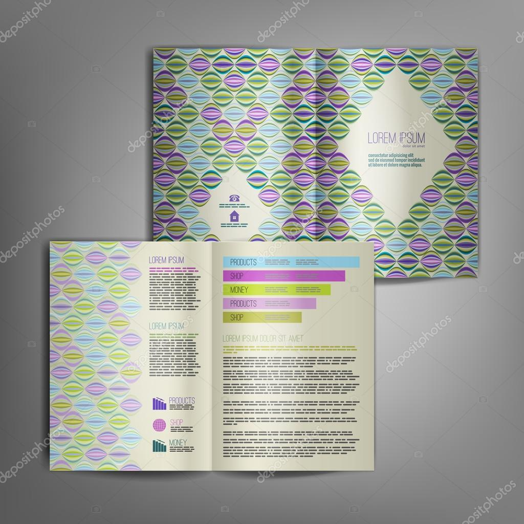 brochure design with retro pattern of particolored elements stock