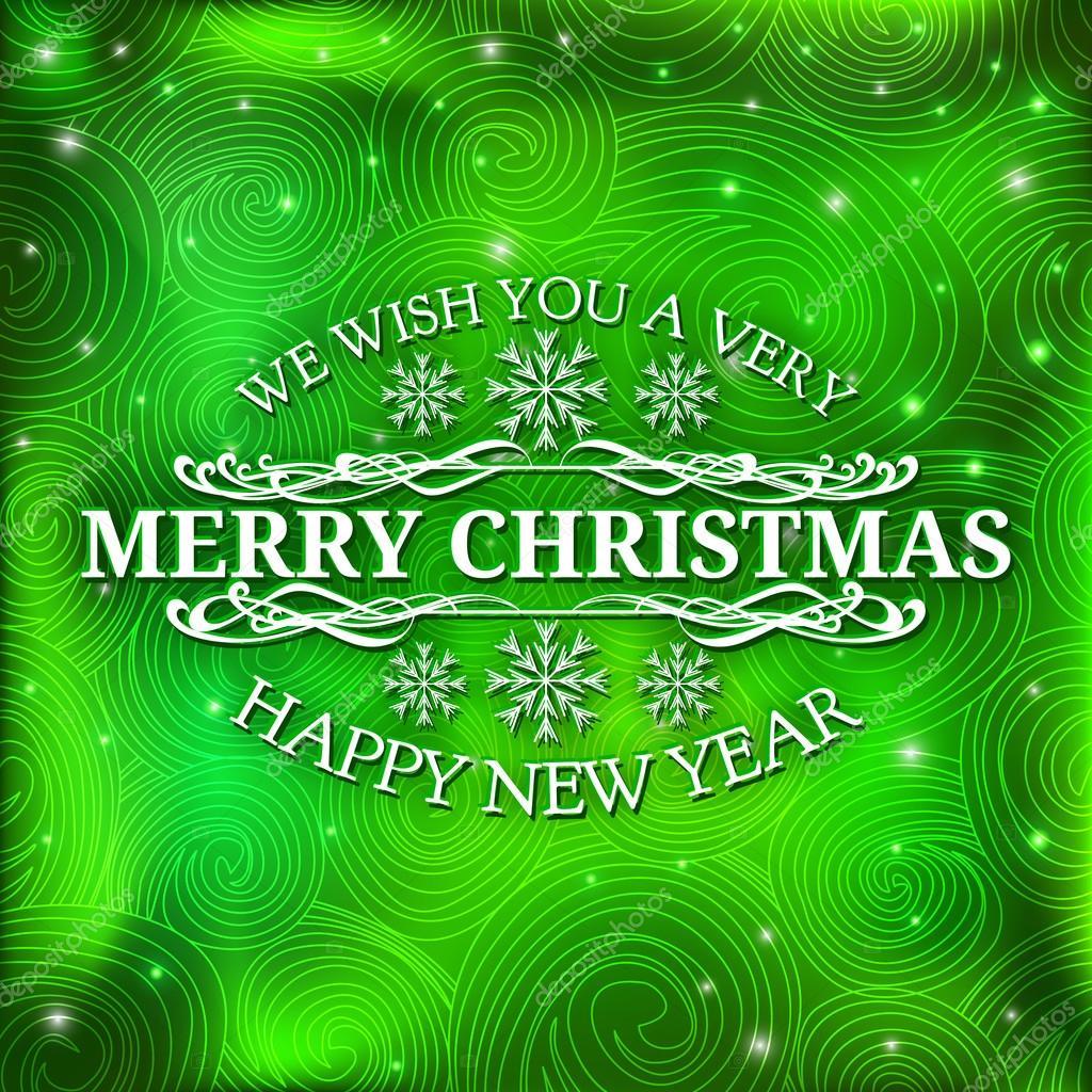 Frohe Weihnachten-Nachricht und grün-hintergrund mit Schneeflocken ...