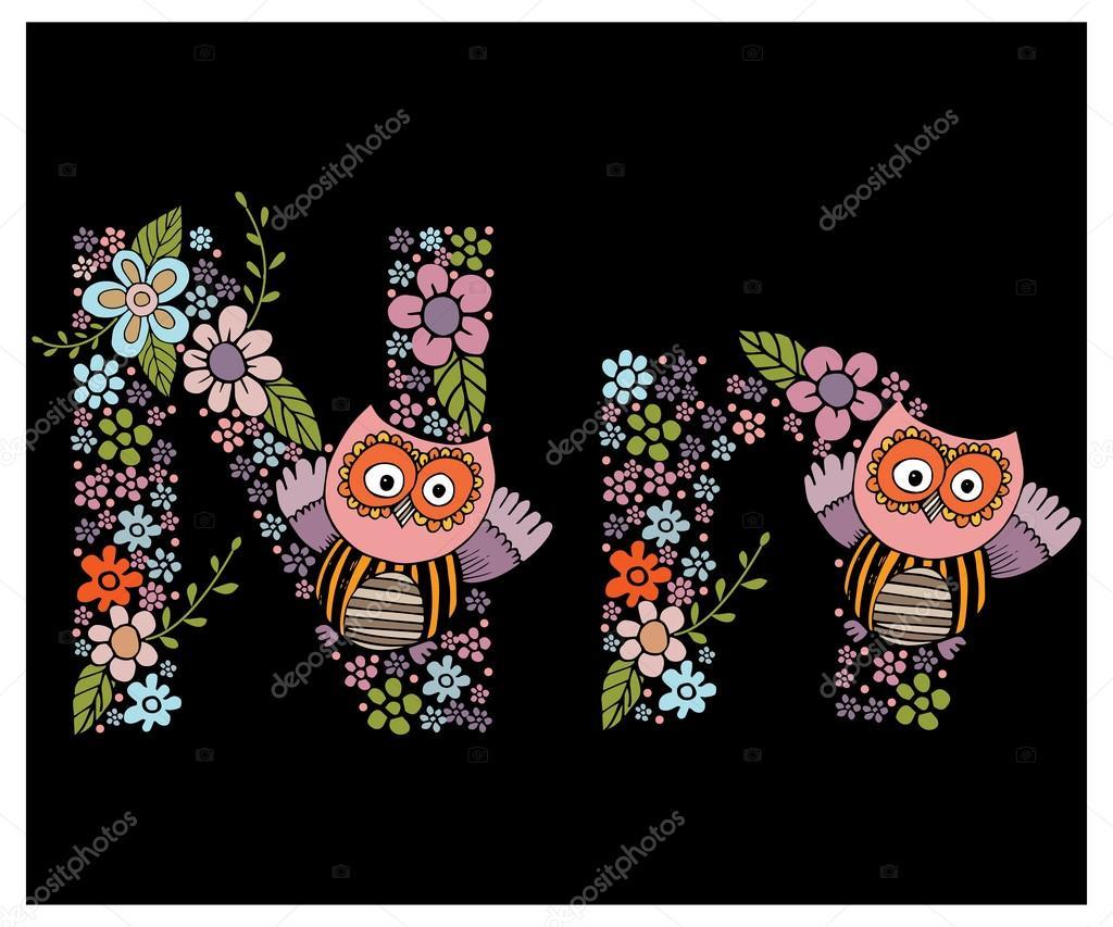 The floral  letter N