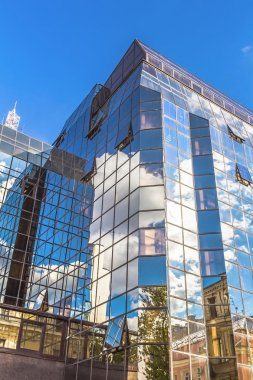 Reflection of the sky in the glass facade