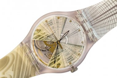 Swiss watches Swatch watches in a transparent plastic casing interior in the style of the Trade House GUM in Moscow to its 120-year anniversary