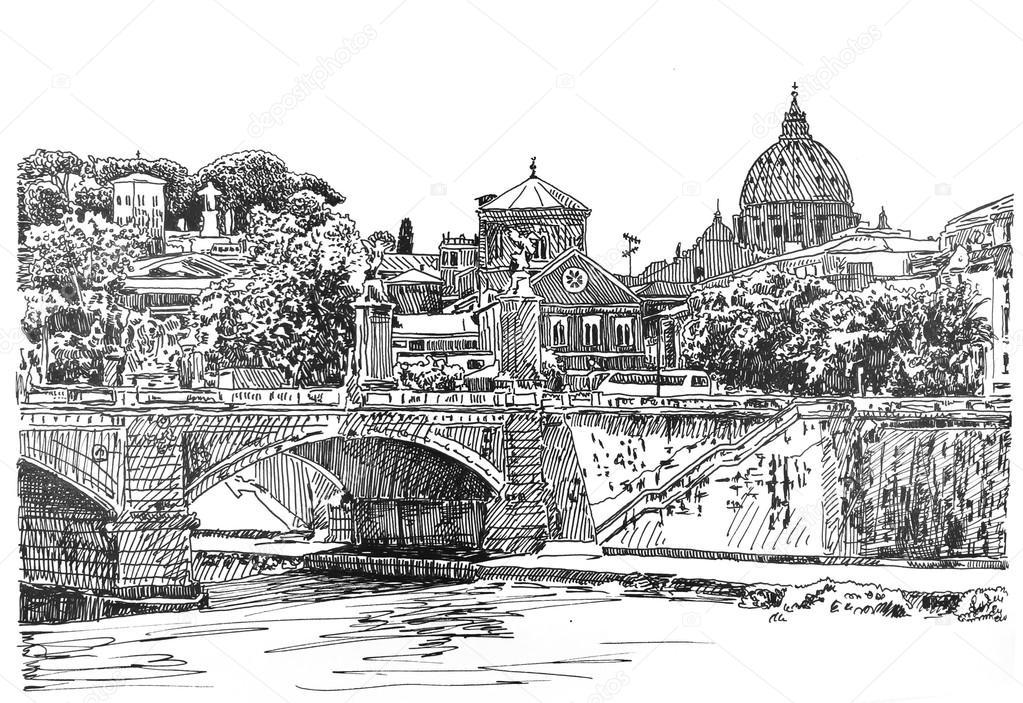 Genoeg Rome stadsgezicht, inkt tekenen — Stockfoto © 1325784_clashot  LF25