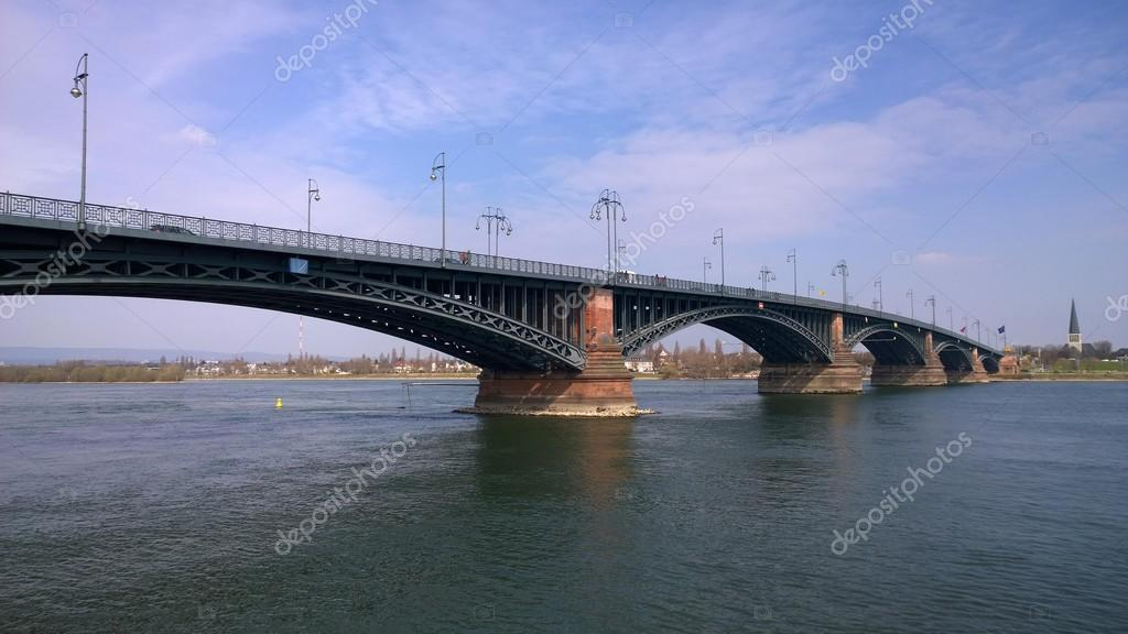 Theodor Heuss Bridge and River Rhein