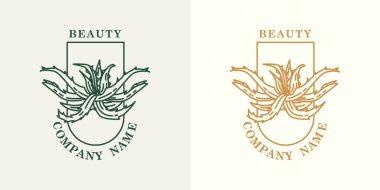 Vector aloe vera logo. Plant logotype. Natural cosmetics and medicine. icon