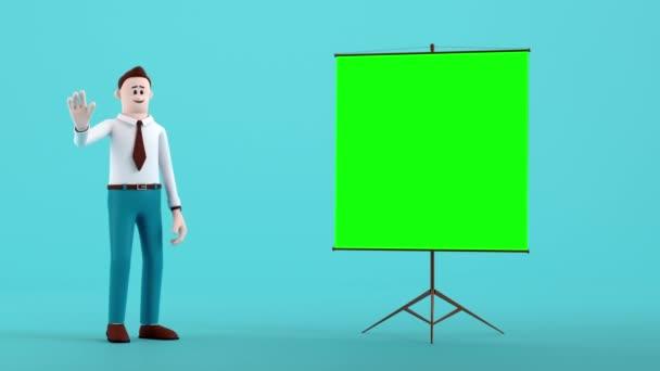 Obchodník přichází na scénu a vysvětluje se zelenou obrazovkou pro snadnou změnu obrazu na něm. Karikatura obsazení konceptuální s 3d vykreslování patří alfa cesta proress kodek.