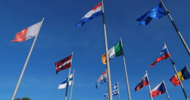 Flags of european countries waving in the wind