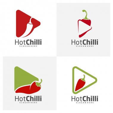 Set of Play Chili logo design vector template, Red Chili Illustration, Symbol Icon icon
