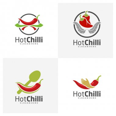 Set of Chili logo design vector template, Red Chili Illustration, Symbol Icon icon