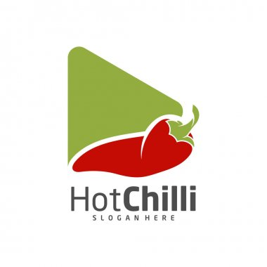 Play Chili logo design vector template, Red Chili Illustration, Symbol Icon icon