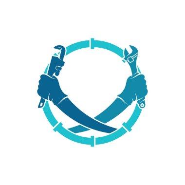 Service Plumbing logo design vector illustration, Creative Plumbing logo design concept template, symbols icons icon