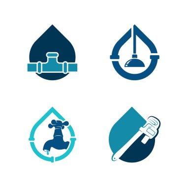 Set of Plumbing logo design vector illustration, Creative Plumbing logo design concept template, symbols icons icon