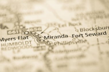 Miranda. California. USA on the map