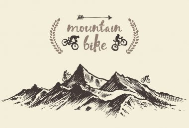 Cyclists riding in mountains