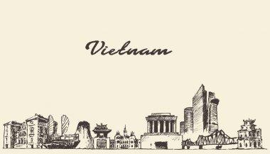 Vietnam skyline vector illustration drawn sketch