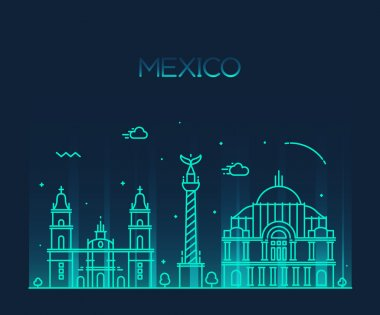 Mexico City skyline detailed silhouette. Trendy vector illustration, line art style.