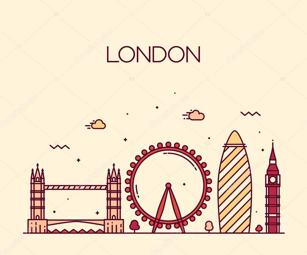 london  england  city skyline vector background  trendy illustration  line art style   u2014 stock