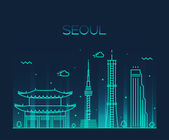 Photo Seoul City skyline silhouette