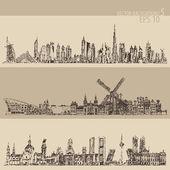 Fotografia Insieme della città disegnata a mano