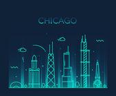 Silueta panorama města Chicago
