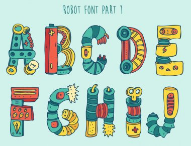 Cartoon robot font