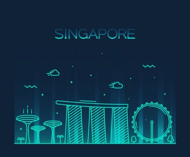Singapore City skyline silhouette