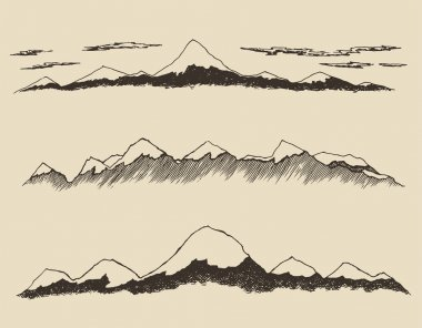 Hand drawn contours of Mountains