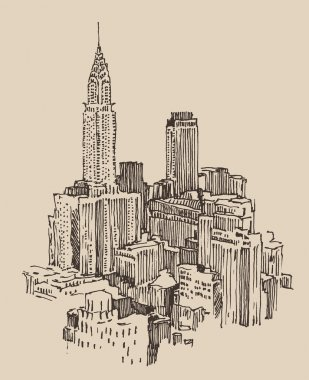 Hand drawn New York city