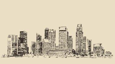 Hand drawn Singapore city