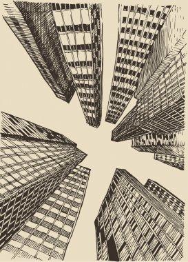 Big city, architecture, engraved illustration, hand drawn, sketch clip art vector