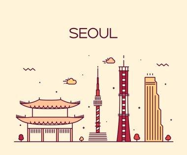 Seoul City skyline silhouette