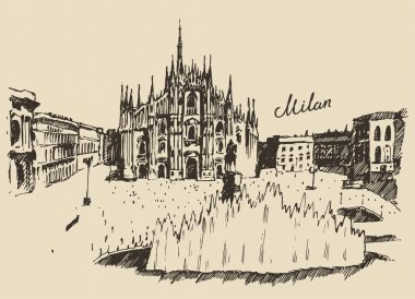 Hand drawn Milan Cathedral