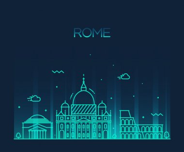 Rome City skyline silhouette.