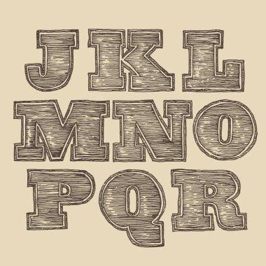 Vintage engraved font