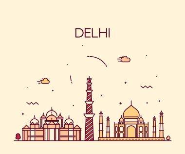 Delhi City skyline silhouette.