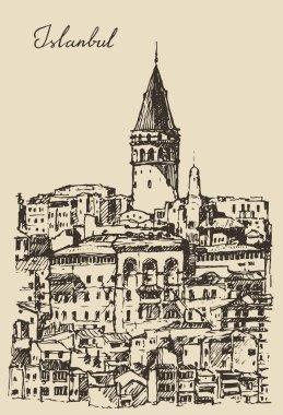 Hand drawn Istanbul city