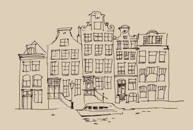 Hand drawn Amsterdam city