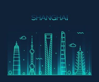 Shanghai City skyline silhouette.