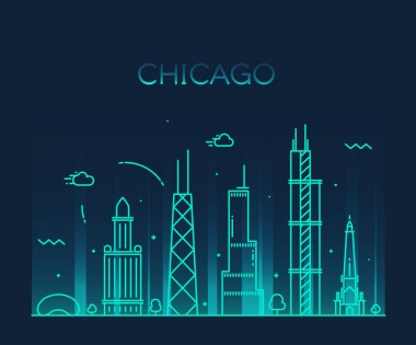 Chicago City skyline silhouette.