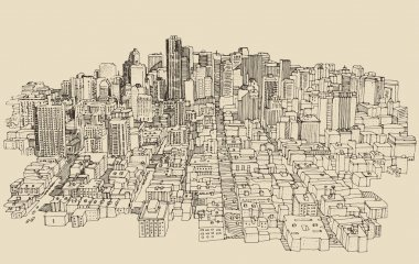 Hand drawn big city