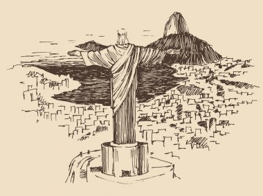 Rio de Janeiro city, Brazil vintage engraved illustration, Jesus Christ, hand drawn stock vector