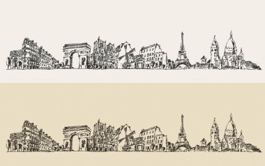 Hand drawn Paris city