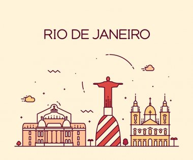 Rio de Janeiro City skyline detailed silhouette. Trendy vector illustration, line art style. clip art vector