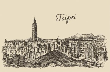 Hand drawn Taipei skyline