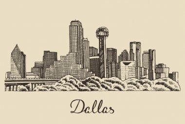 Hand drawn Dallas skyline